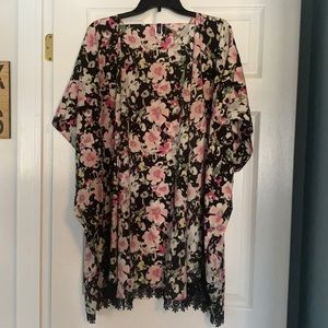 Pink Floral Kimono / Bathing Suit Cover Up